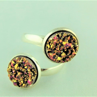 Gold and Pink Faux Druzy Cabochons Adjustable Ladies Statement Ring