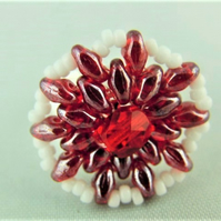 Hand Sewn Red and White Beaded Mandala Adjustable Ladies Statement Ring