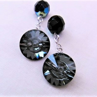 Men's Black Shadow Swarovski Crystal & Black Crystal Cufflinks, Men's Jewellery