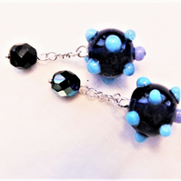 Men's Blue Dotty Beaded Cufflinks, Men's Jewellery