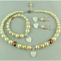 Cream Gold and Peach Pearl and Cyrstal 3 Piece Bridal Jewellery Set