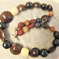 Men's Wooden Bead and Seed Necklace, Men's Beaded Necklace