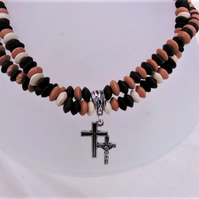 Men's Beaded Necklace With Wooden Saucer Shaped Beads and Silver Double Cross