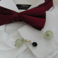 Men's Jade & Black Faceted Bead Cufflinks, Men's Jade Beaded Cufflinks