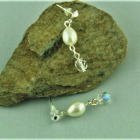 Bridal Stud Earrings For Pierced Ears With A Freshwater Pearl & A Clear Crystal