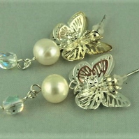 Silver Plated Butterfly Freshwater Pearl and Clear Crystal Bridal Stud Earrings