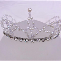 Clear Crystal & Cream Pearl Beaded Bridal Tiara, Bridesmaid's Tiara