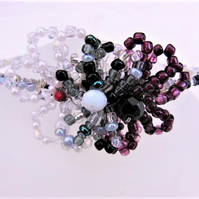 Purple Black and Cream Beaded Floral Tiara, Wedding Jewellery, Bridal Jewellery