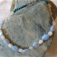 Blue Lace Agate, Rose Quartz and Blue Glass Bead Necklace