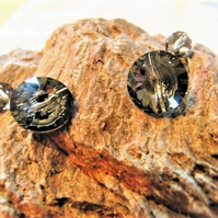 Round Cuff Links Made With Silver Night Swarovski Crystal Buttons