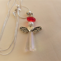 Glass Crystal & Pearl Christmas Angel Pendant Necklace With Silver Plated Wings