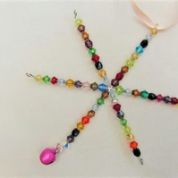 Multi Coloured Crystal Christmas Star Tree Decoration, Christmas Star Bauble
