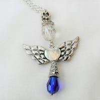 Silver and Blue Christmas Angel Pendant Necklace, Novelty Christmas Jewellery