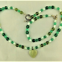 Shades of Green Heart 2 Piece Jewellery Set, Green Beaded Jewellery Set