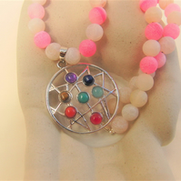 Chakra Pendant on a Pink & White Cracked Quartz Beaded Choker Necklace