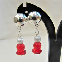 Red Glass Bead and Cream Pearl Clip on Earrings, Ladies Earrings