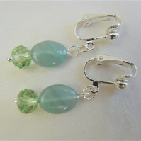 Greeny Blue Opaline Bead with Green Crystal Rondelle Clip On Earrings