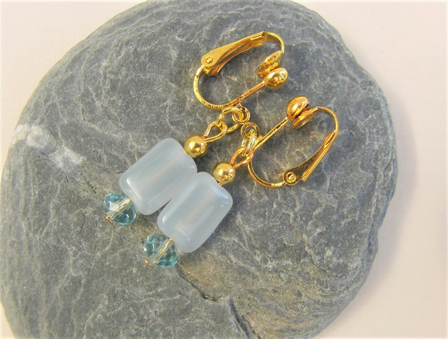 Pale Blue Rectangular Bead and Light Blue Crystal Rondelle Bead Clip On Earrings