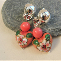 Ladies Coral Pink Heart Shaped Cloisonne Earrings for Pierced Ears