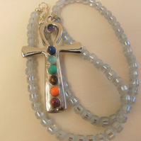 Silver Cross Chakra Pendant on a Blue Grey Beaded Choker Necklace