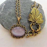 Lilac Glass Cabochon, Gold Plated Chain, Ladies Lilac Necklace, Gold Necklace