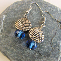 Clam Shell and Blue Crystal Earrings for Pierced Ears, Ladies Earrings