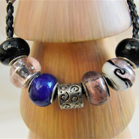 Black Blue Purple Silver and Transparent Pink European Lampwork Bead Bracelet