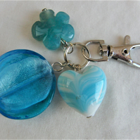 Heart Flower and Disc Hand Bag Charm, Blue Bag Charm, Bag Accessories