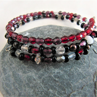 Red Black Purple and Clear Crystal and Pearl Memory Wire Cuff Bracelet