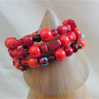 3 Strand Red Glass Bead Memory Wire Cuff Bracelet, Ladies Cuff Bracelet