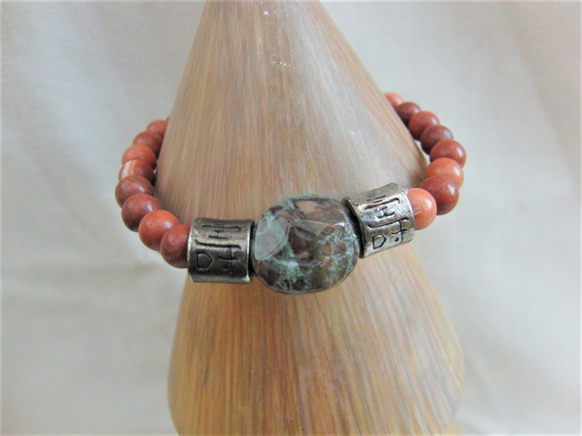 Sunstone and Jasper Beaded Bracelet with Silver Plated Spacer Bead Bracelet