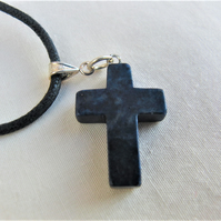 Dark Blue Lapis Lazuli Cross on a Black Leather Necklet, Ladies Necklace