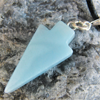 Pale Blue Agate Arrow Head Pendant on a Black Leather Necklet, Ladies Necklace