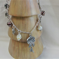 Caged Glass Beads and Silver Charm Necklace with a Rose Pendant, Ladies Necklace