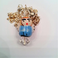 Blue Ceramic Christmas Angel Pendant On A Silver Plated Chain, Secret Santa Gift