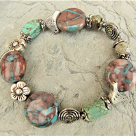 Bracelet Made With Turquoise and Jasper Beads and Silver Bird Beads