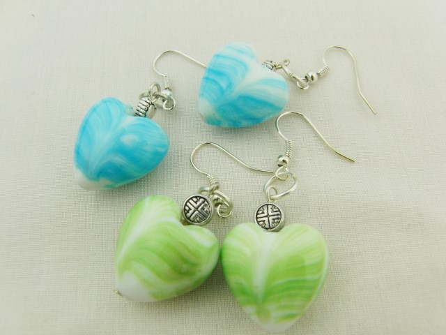 Blue or Green Ceramic Heart Earrings for Pierced Ears, Christmas Gift for Her