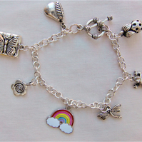 Summer Day Silver Charm Bracelet or Anklet, Beach Jewellery