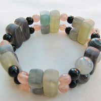 Opaline and Quartz Cube and Rectangle Stretch Beaded Bracelet
