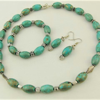 Turquoise & Silver Spacer Beaded Jewellery Set, Semi Precious Jewellery Set