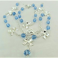 Jewellery Set with Silver Bows Chain and Blue Crystal, Christmas Gift for Her