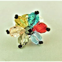 Ladies Adjustable Ring With Yellow Blue Red Smoky Quartz & Pink Crystal