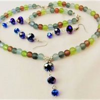 Jewellery Set With Multi Coloured Glass Beads and Blue Crystals, Christmas Gift