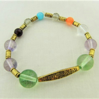 Multi Coloured Glass and Crystal Beaded Bracelet, Gold Plated Bar Bracelet