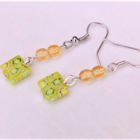Yellow Millefiori Square Bead Earrings For Pierced Ears, Christmas Gift for Her