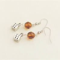 Topaz Crystal Bead and Silver Plated Dice Charm Earrings For Pierced Ears