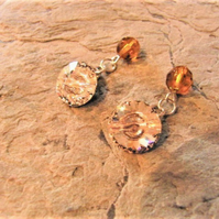 Round Cuff Links Made With Clear Crystal Swarovski Crystal Buttons
