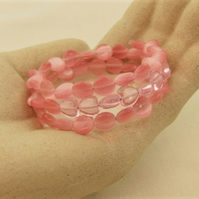 3 Strand Pink Heart and Cats Eye Bead Disc Memory Wire Cuff Bracelet