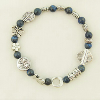 Lapis Lazuli and Silver Spacer Bead Stretch Bracelet
