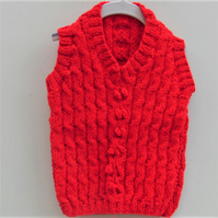 Red Cabled Sleeveless Slipover, Knitted Children's Clothes, Cabled Pullover